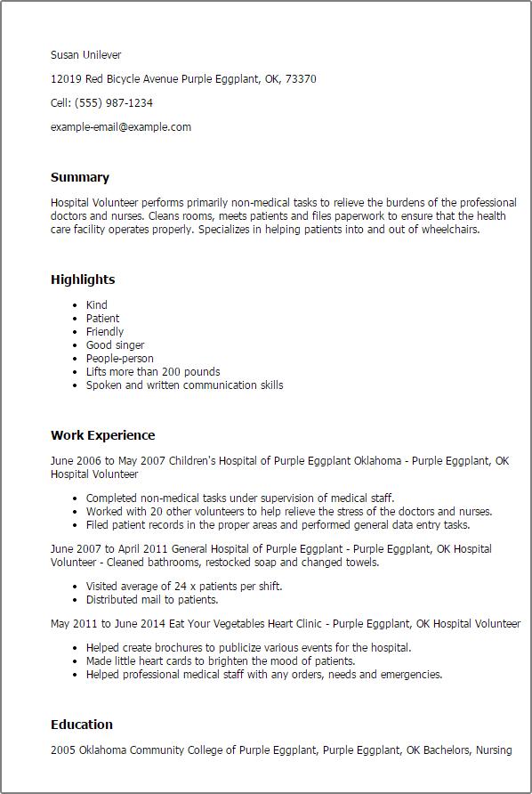 resume volunteer