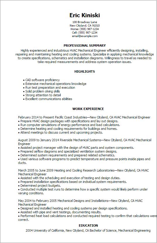 hvac mechanical engineer resume
