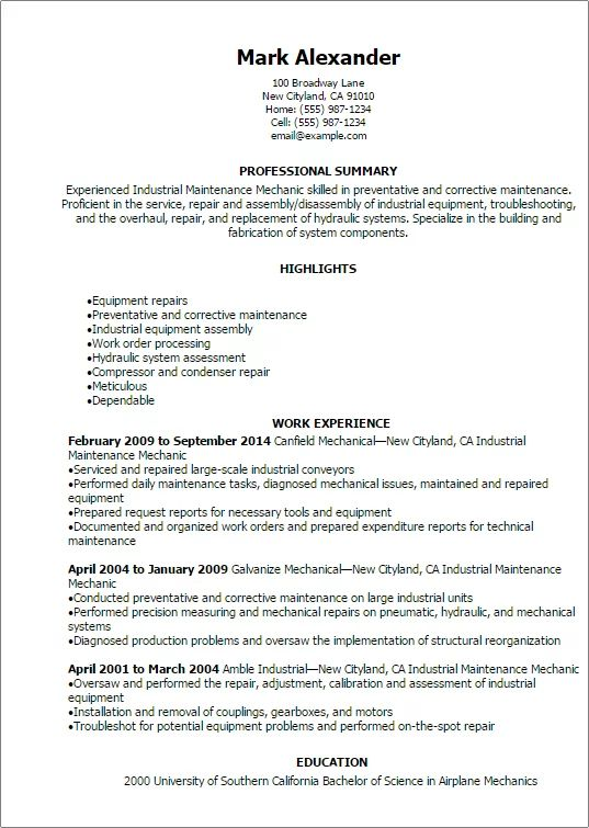resume template for industrial maintenance