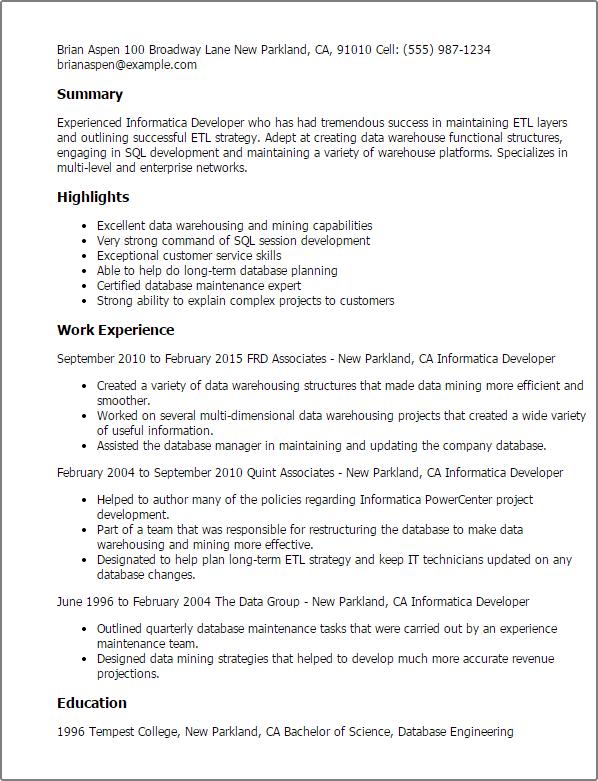 etl developer resume example