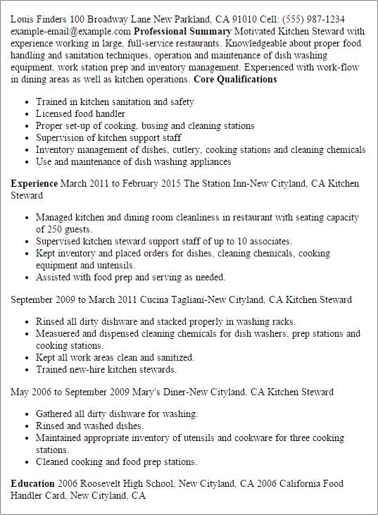 resume for kitchen job
