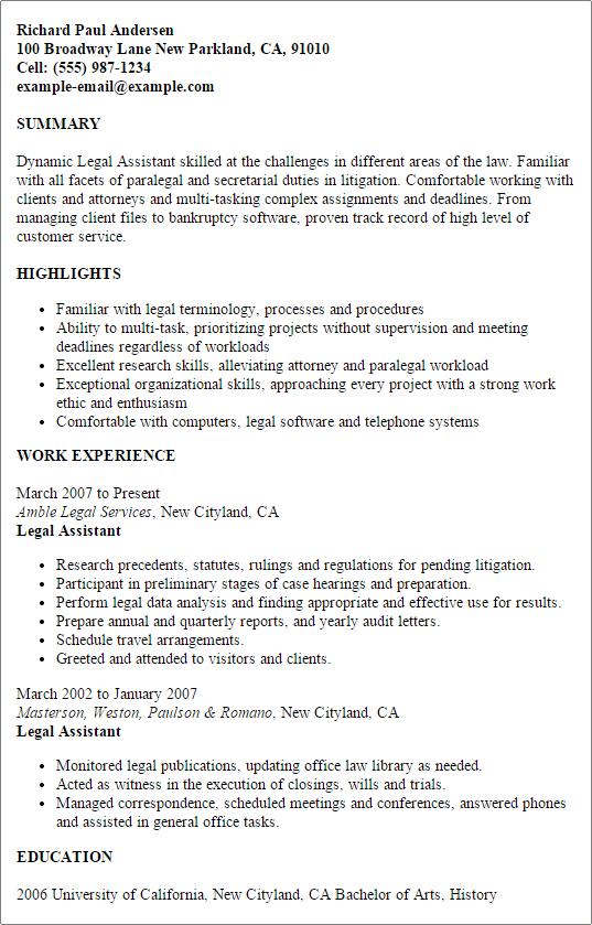 litigation secretary resume sample