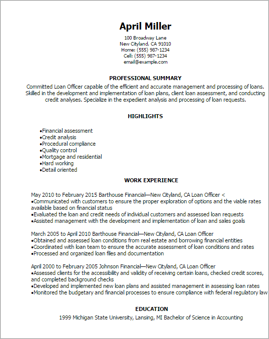 mortgage loan officer resume examples