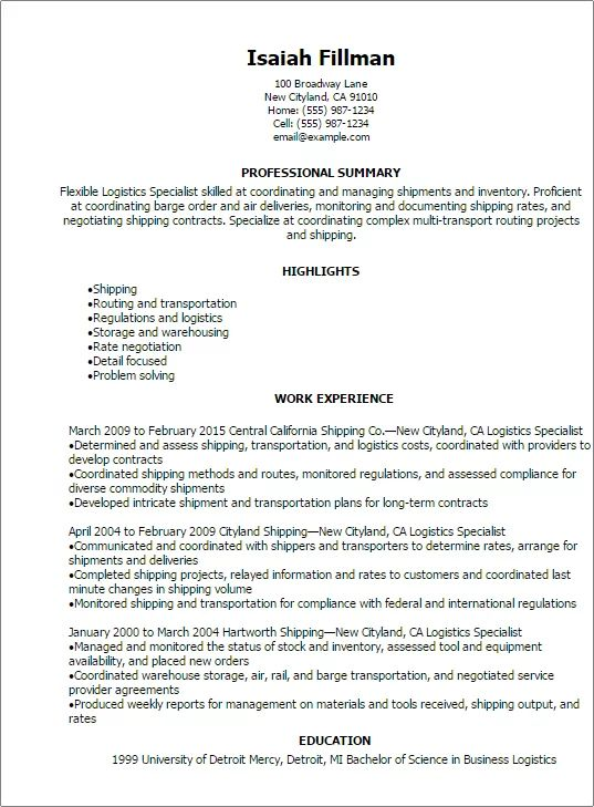 resume inventory qualifications