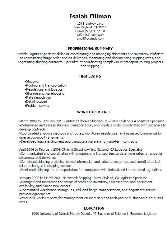 shipping logistics resume sample