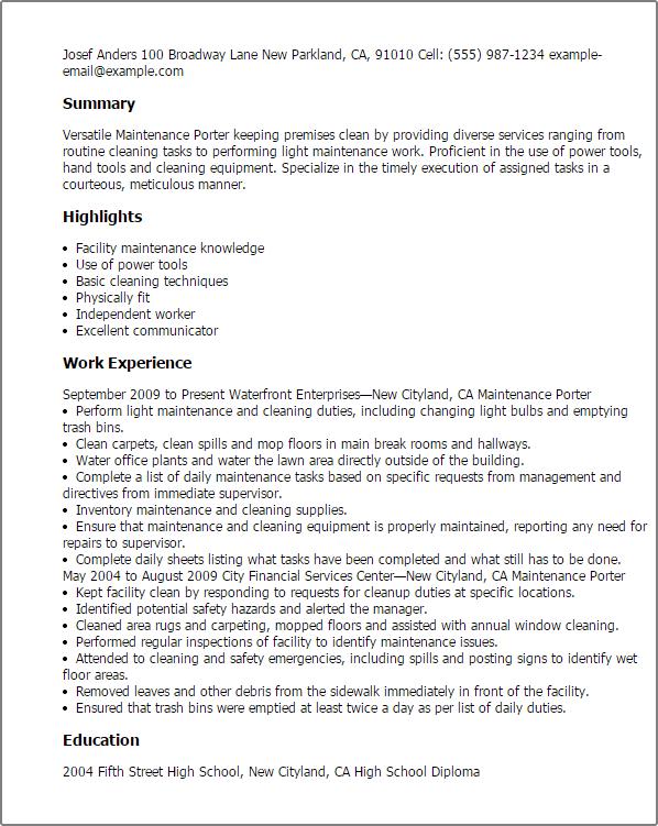 maintenance porter resume sample