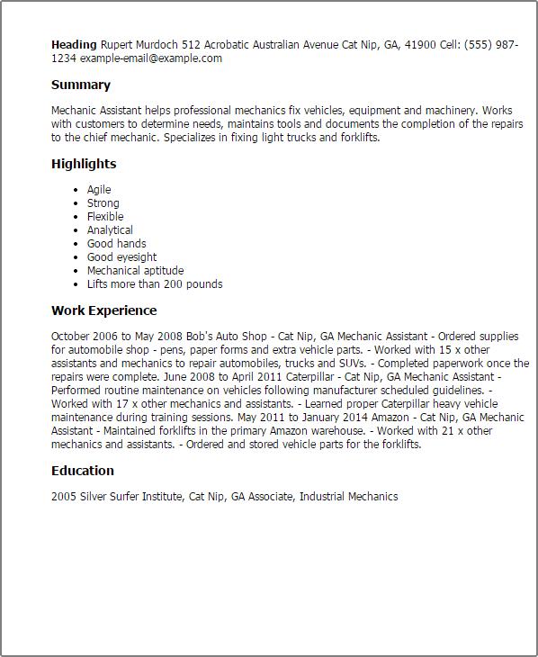resume for helper mechanic