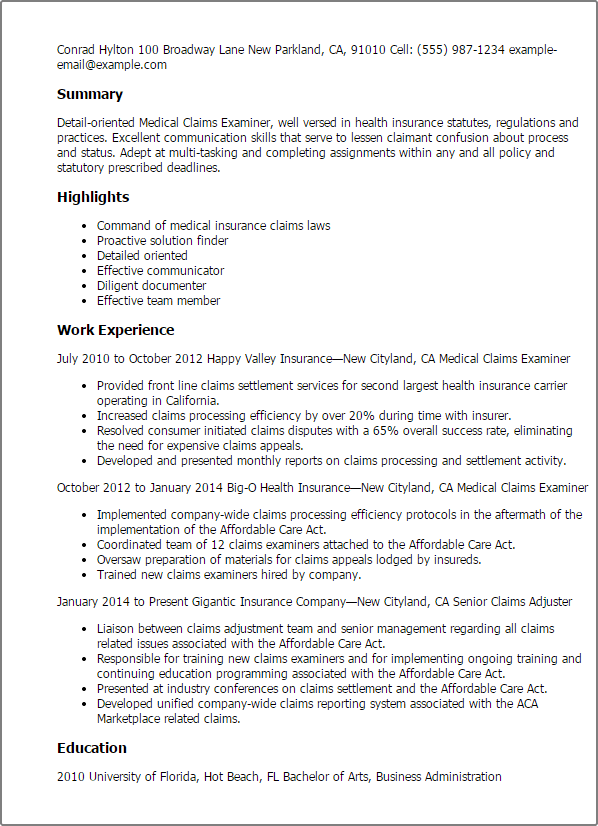 claims examiner resume