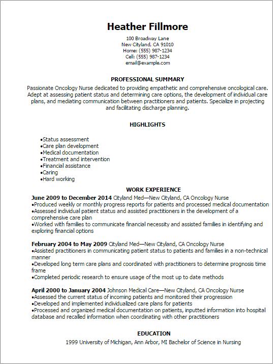 sample resume for oncology nurse
