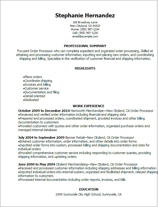 resume for warehouse order selector