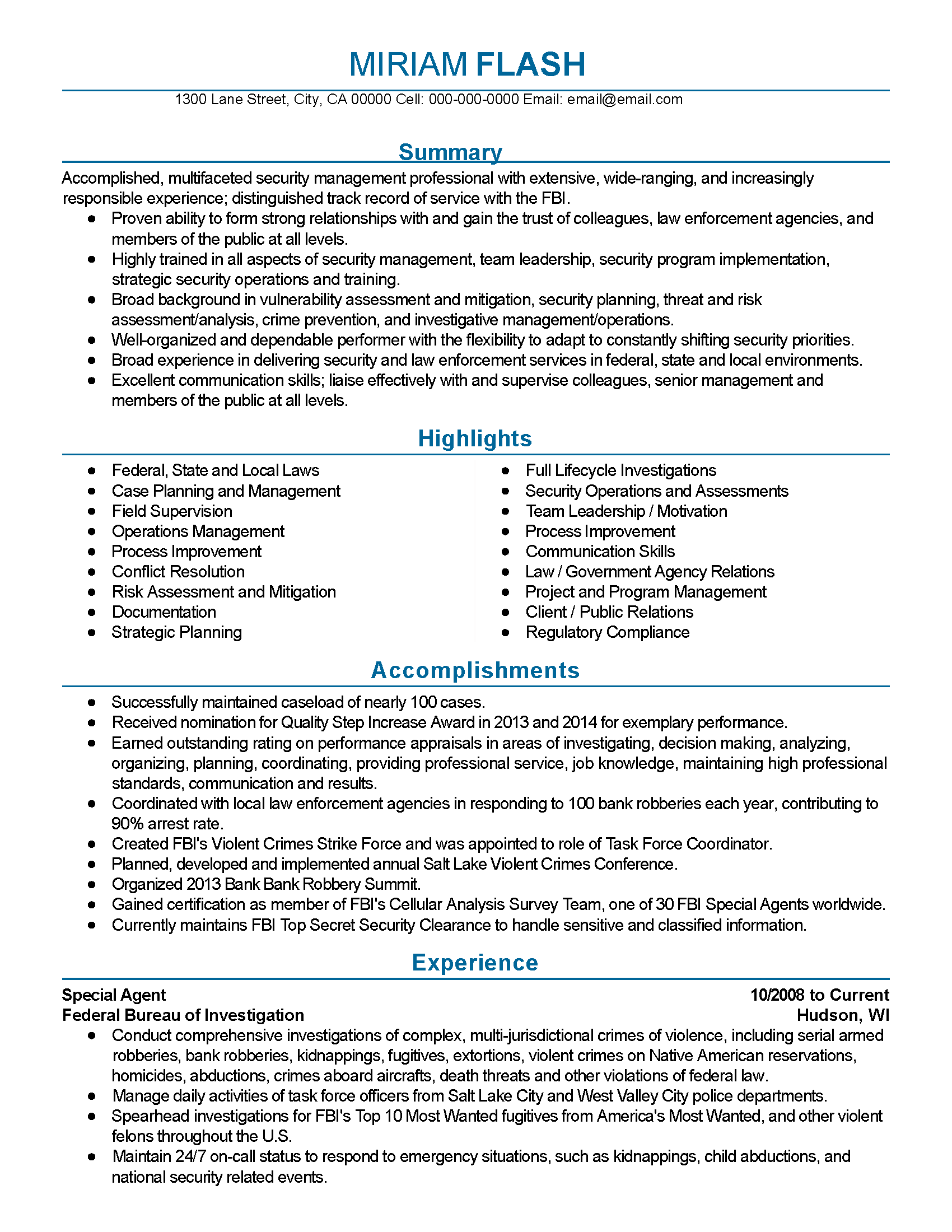 fbi agent resume template