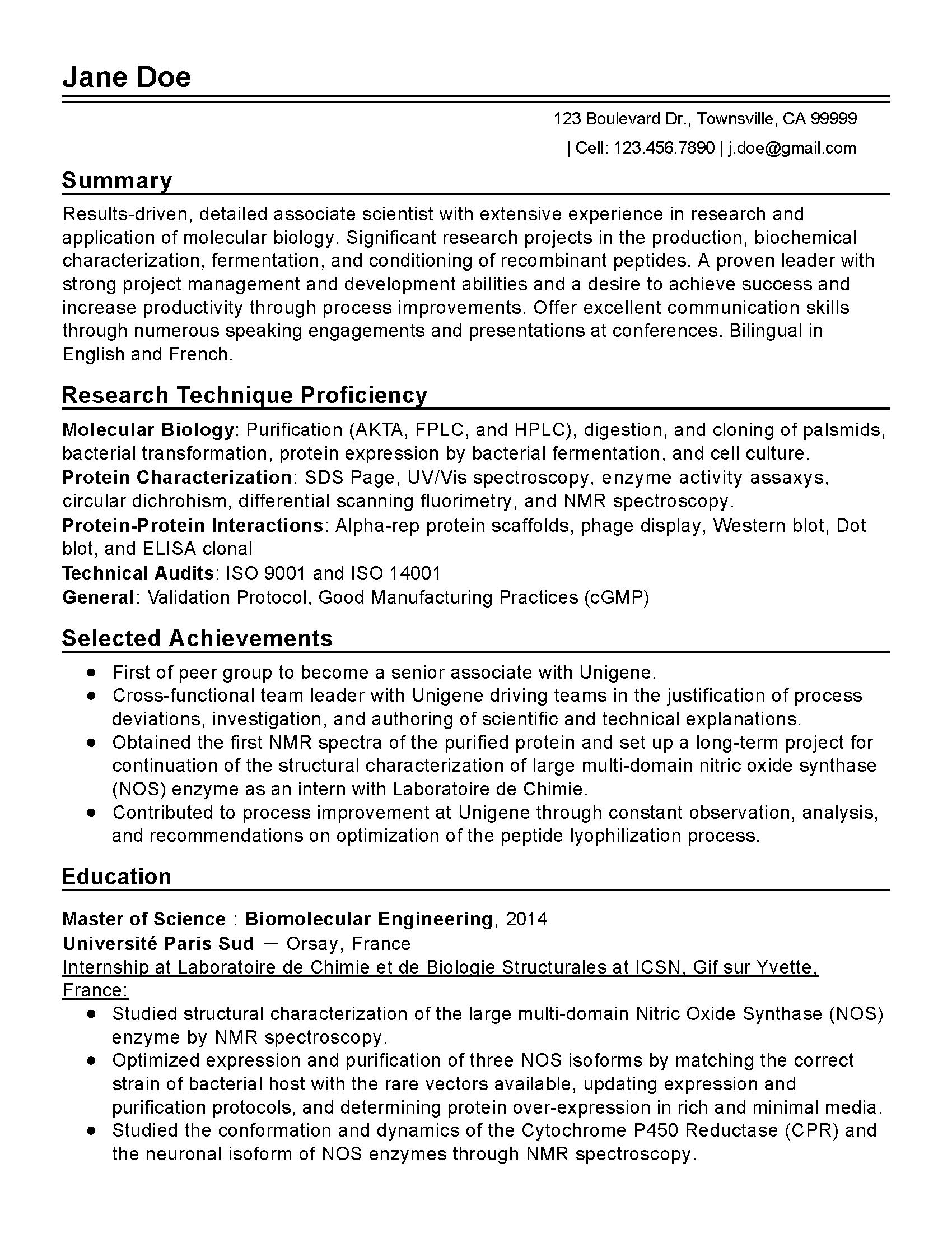 molecular biology resume template