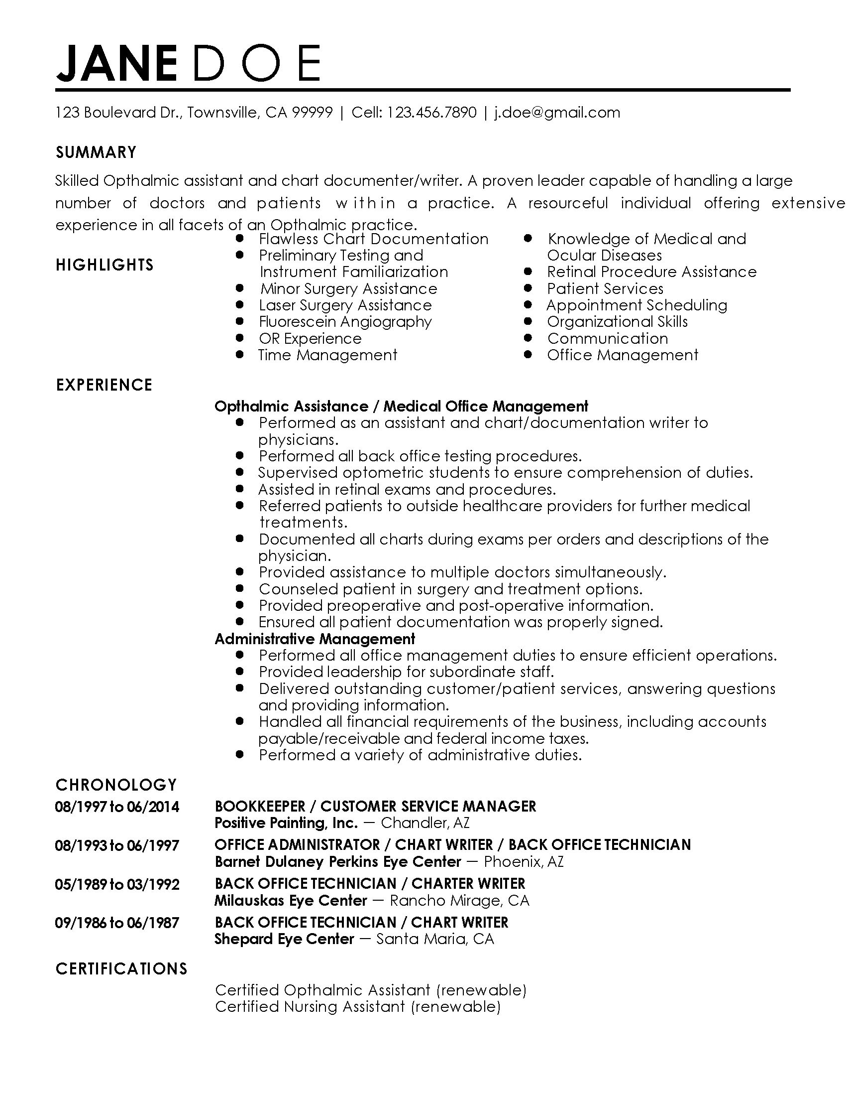 ophthalmic assistant resume template