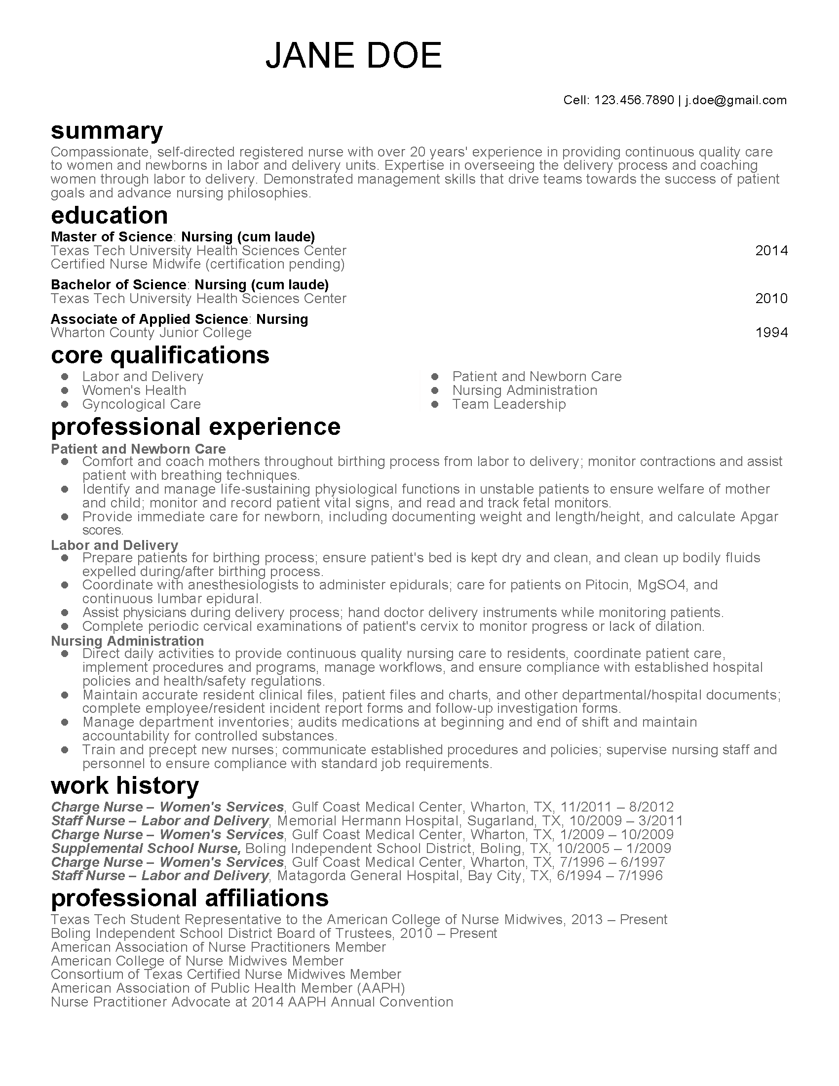 certified nurse midwife resume examples