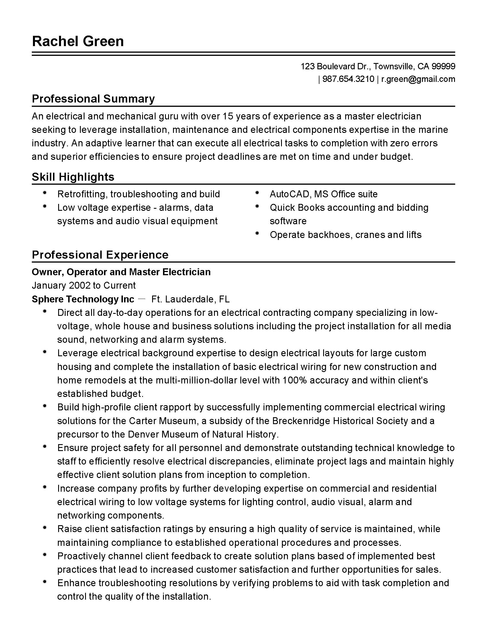 master electrician resume examples