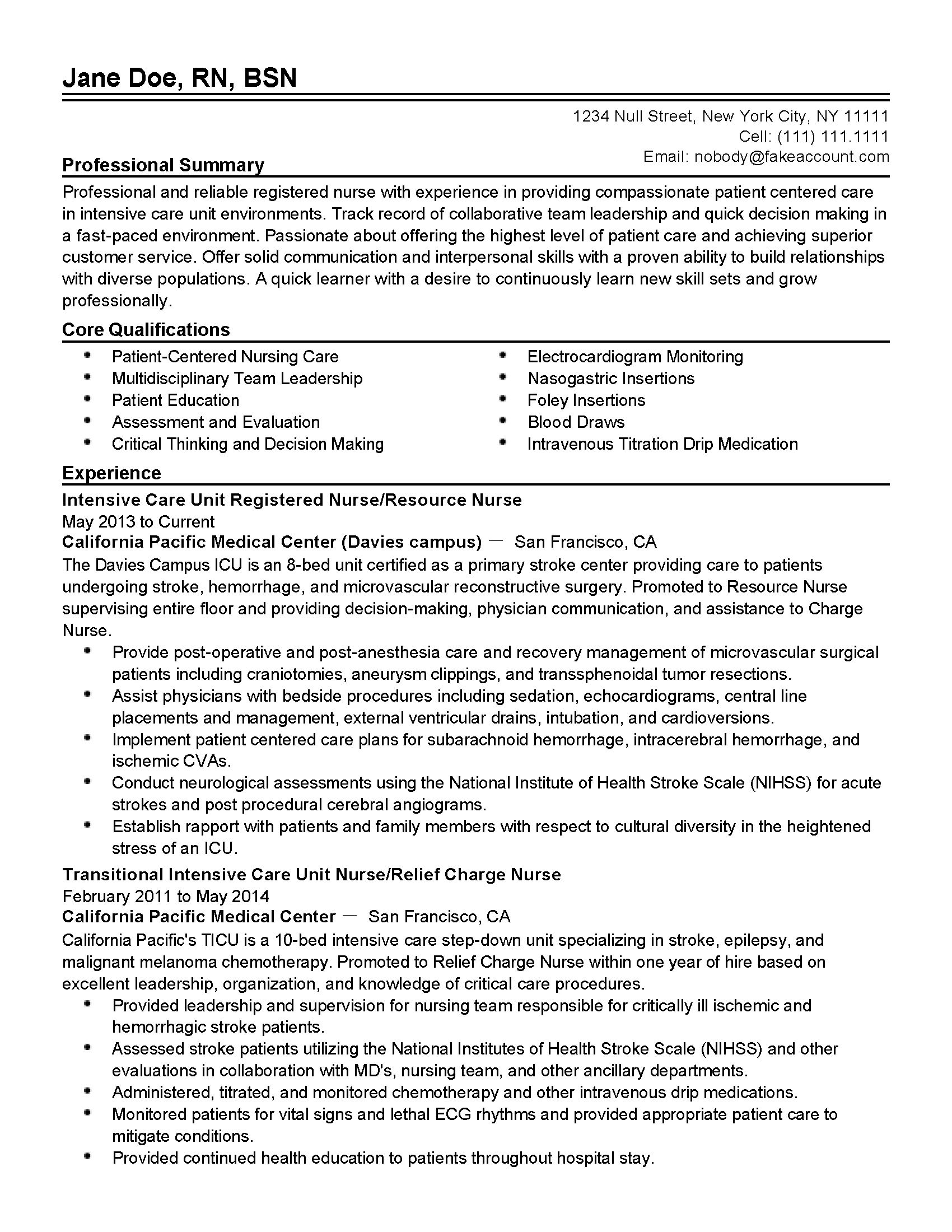 resume professional summary nurse