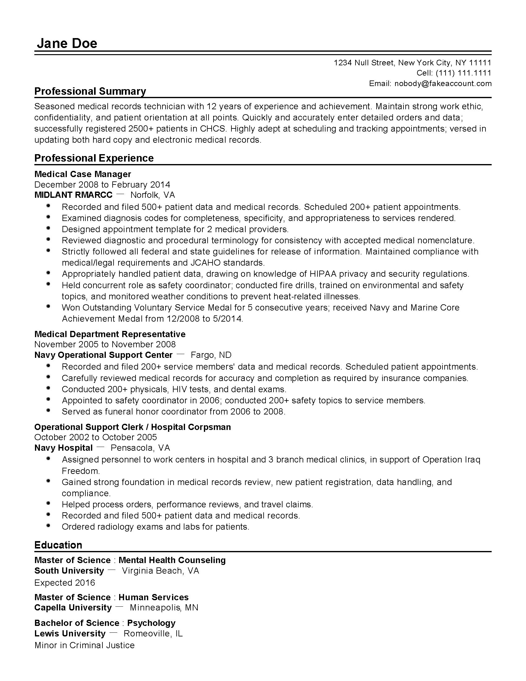 medical records clerk resume examples