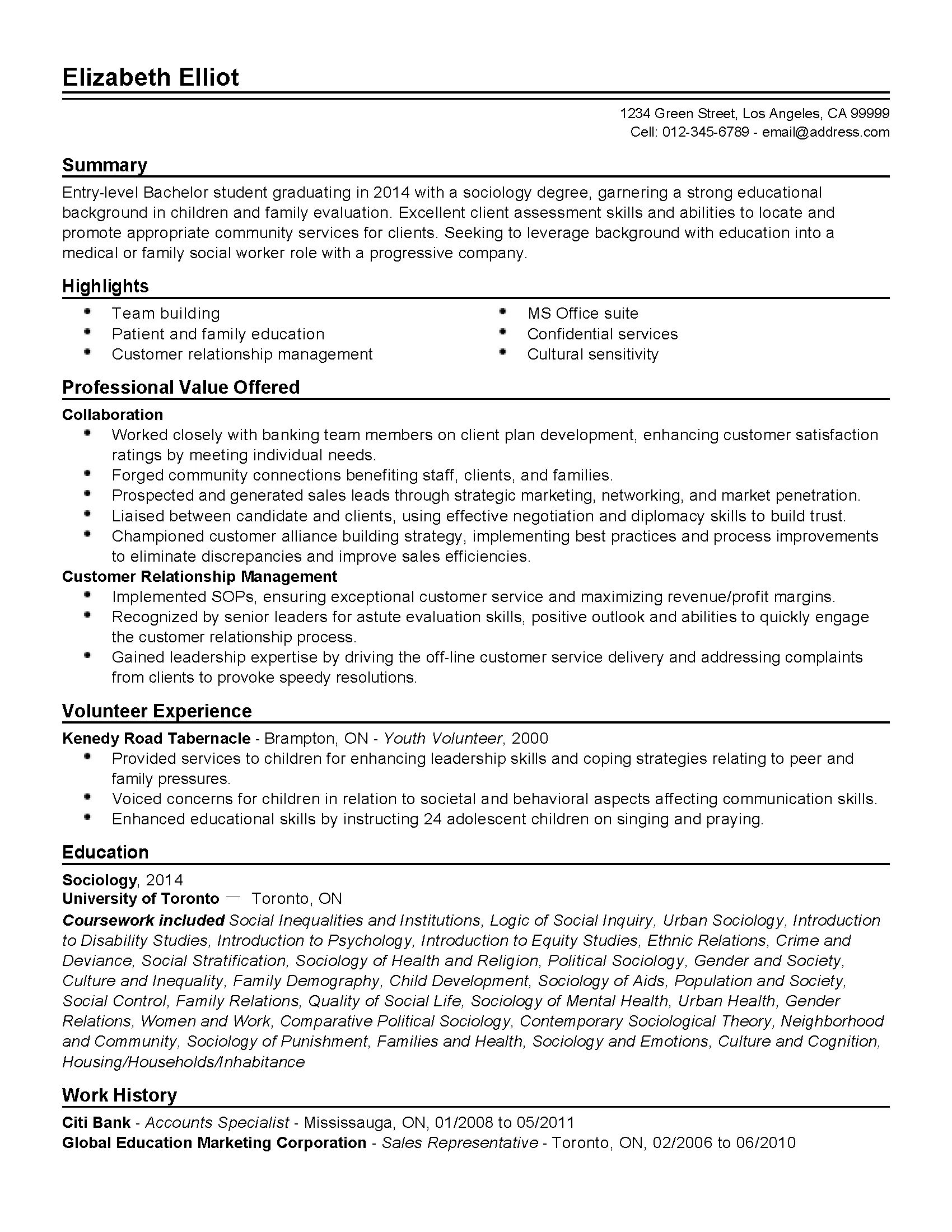 sample resumes on working with youth