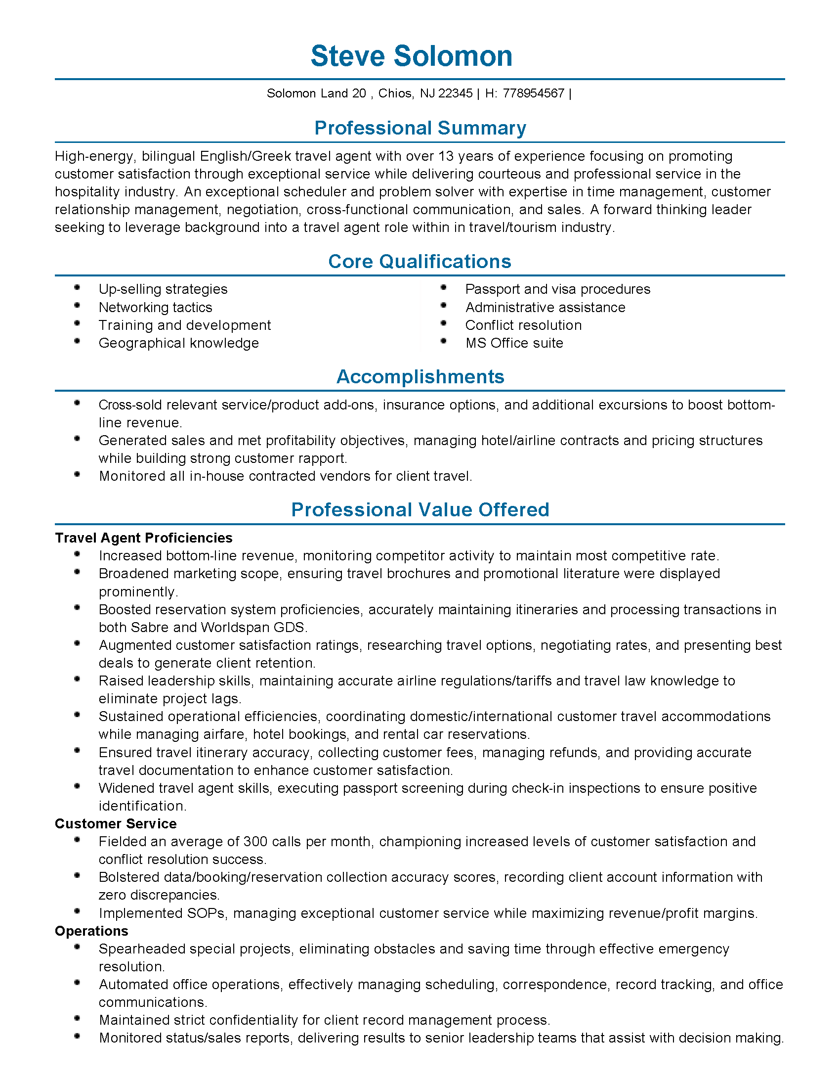 resume for tourism internship