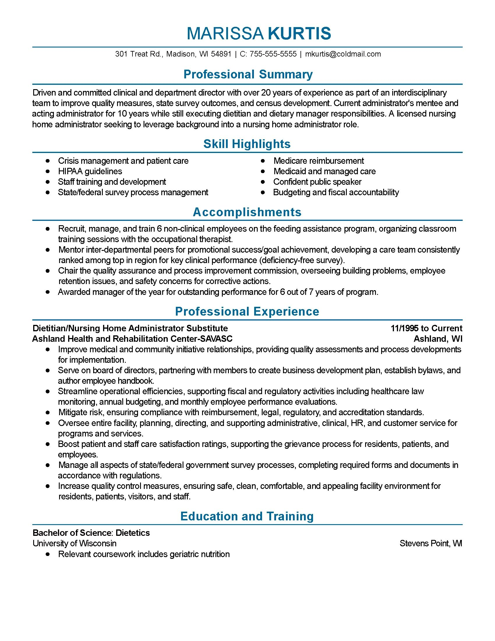 summary of qualifications resume dietitian