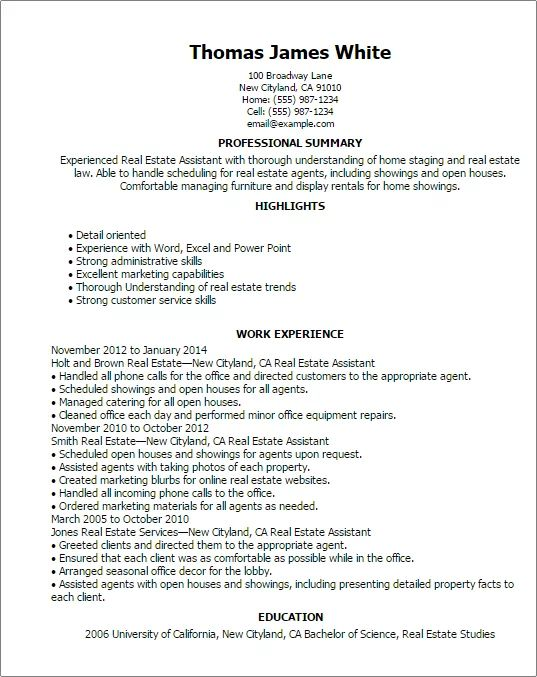 commercial assistant real estate cv