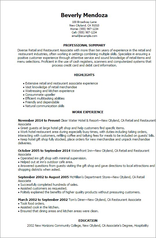 resume summary examples for retail manager