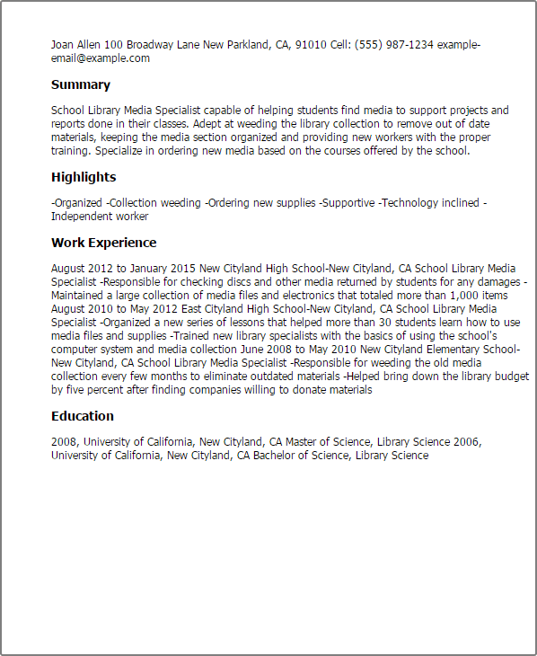 library media specialist resume template