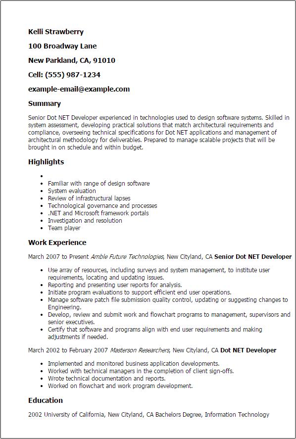 senior dot net developer resume sample