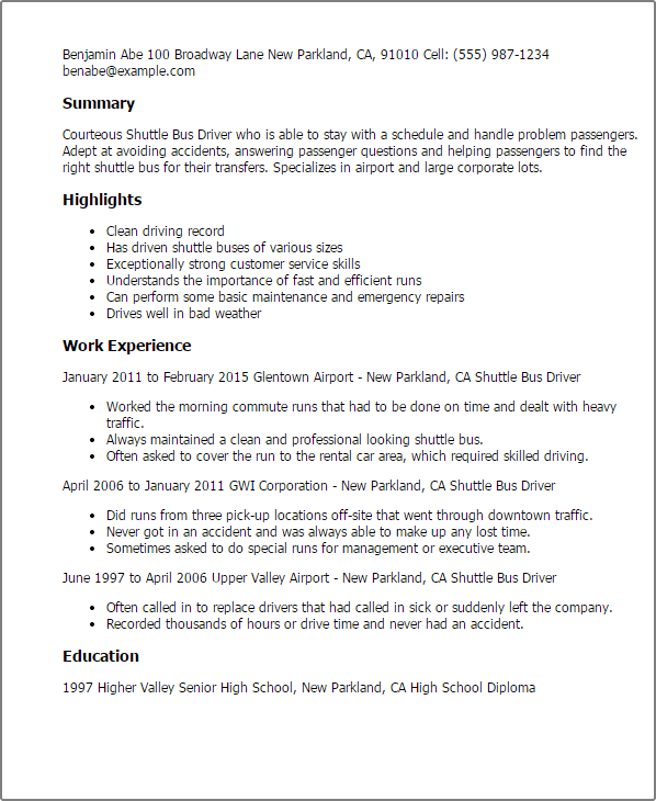 shuttle driver resume examples