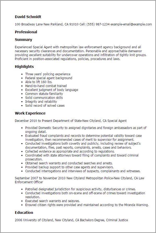 sample federal agent resume