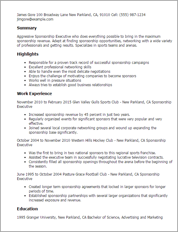 resume summary examples briefing