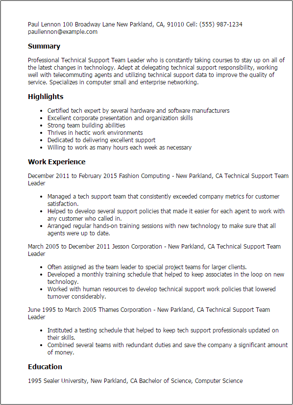 team leader resume sample