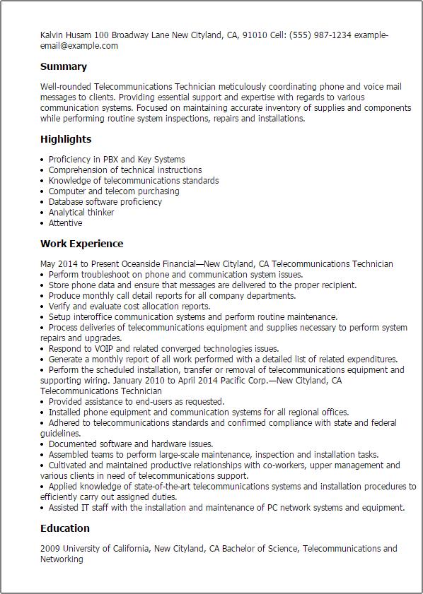 telecommunications technician resume