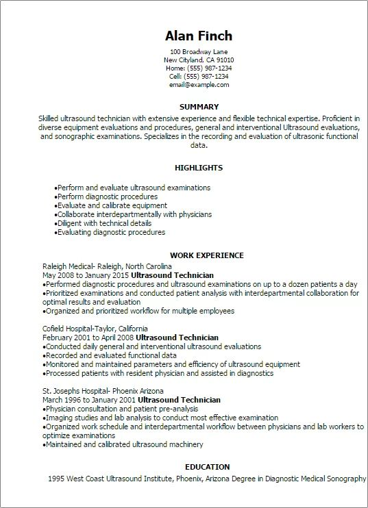 resume templates for ultrasound