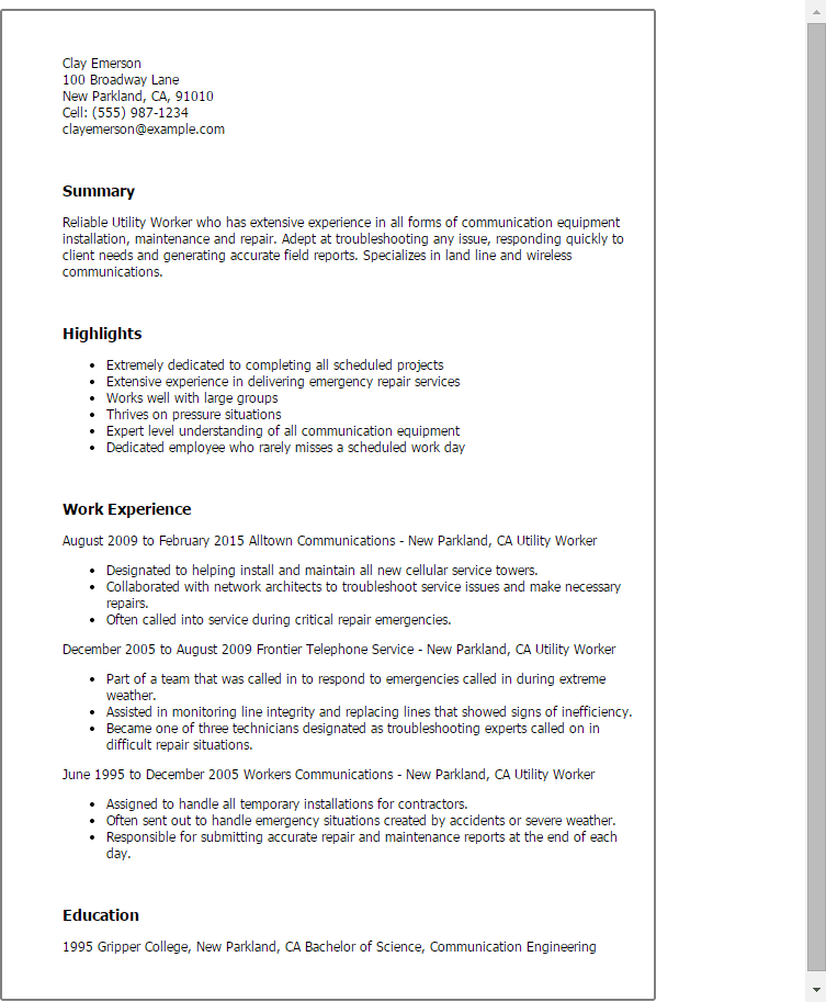 resume examples for utility worker