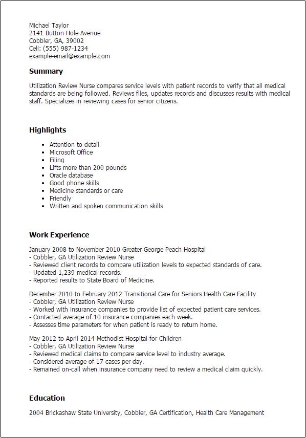 resume profile for utilization review nurse