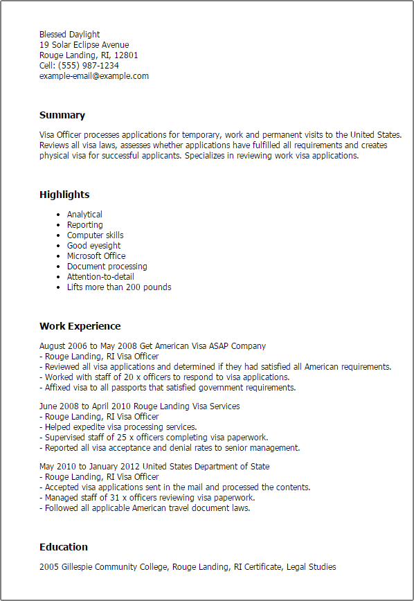 resume for us visa