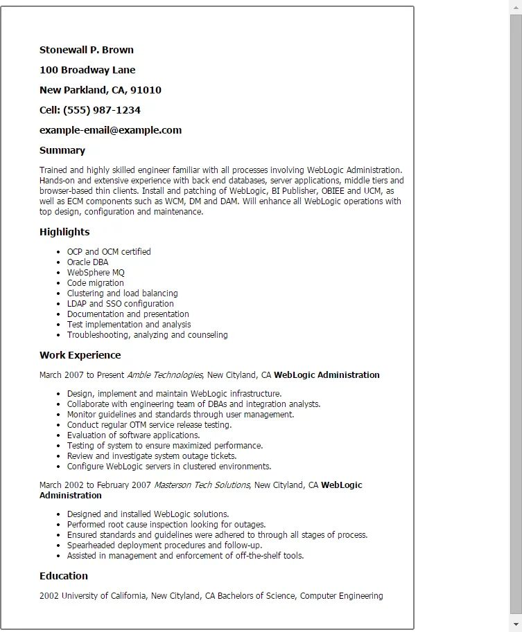 resume templates for salesforce