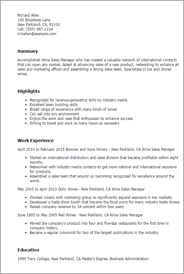 resume examples for wine industry