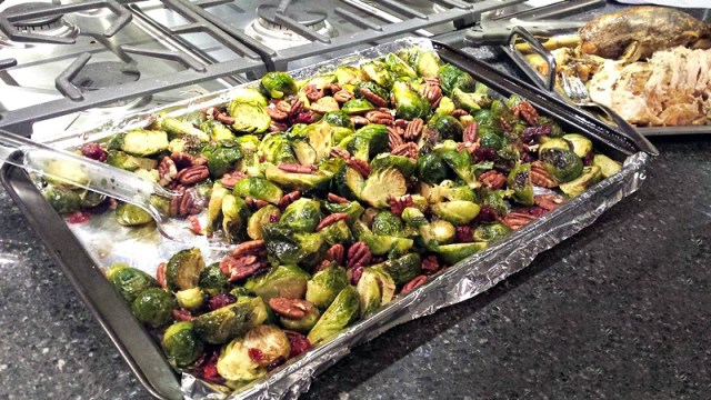 Roasted Brussels Sprouts with Cranberries and Pecans - My Pretty Brown Fit
