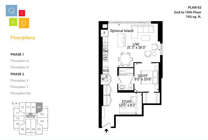 Floor plans for quad lofts quad lofts at 19 23 brant st for Quad home plans
