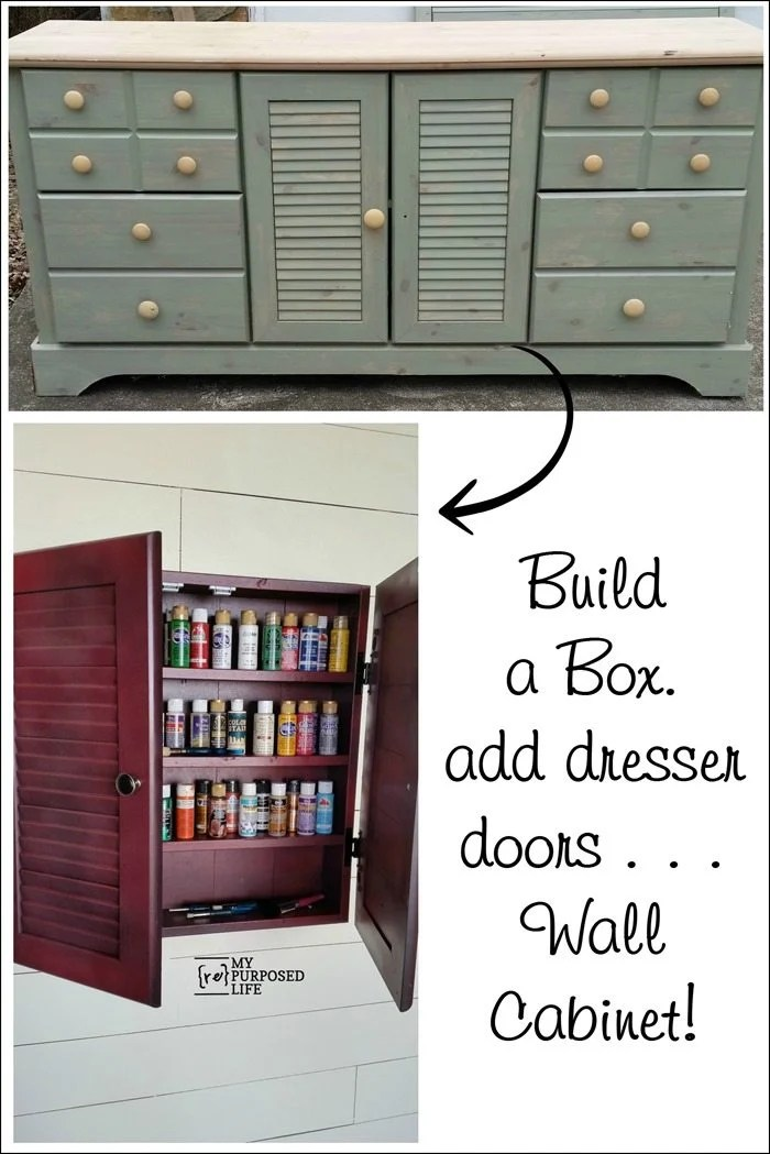 Wall Cabinet Craft Storage Repurposed Doors My