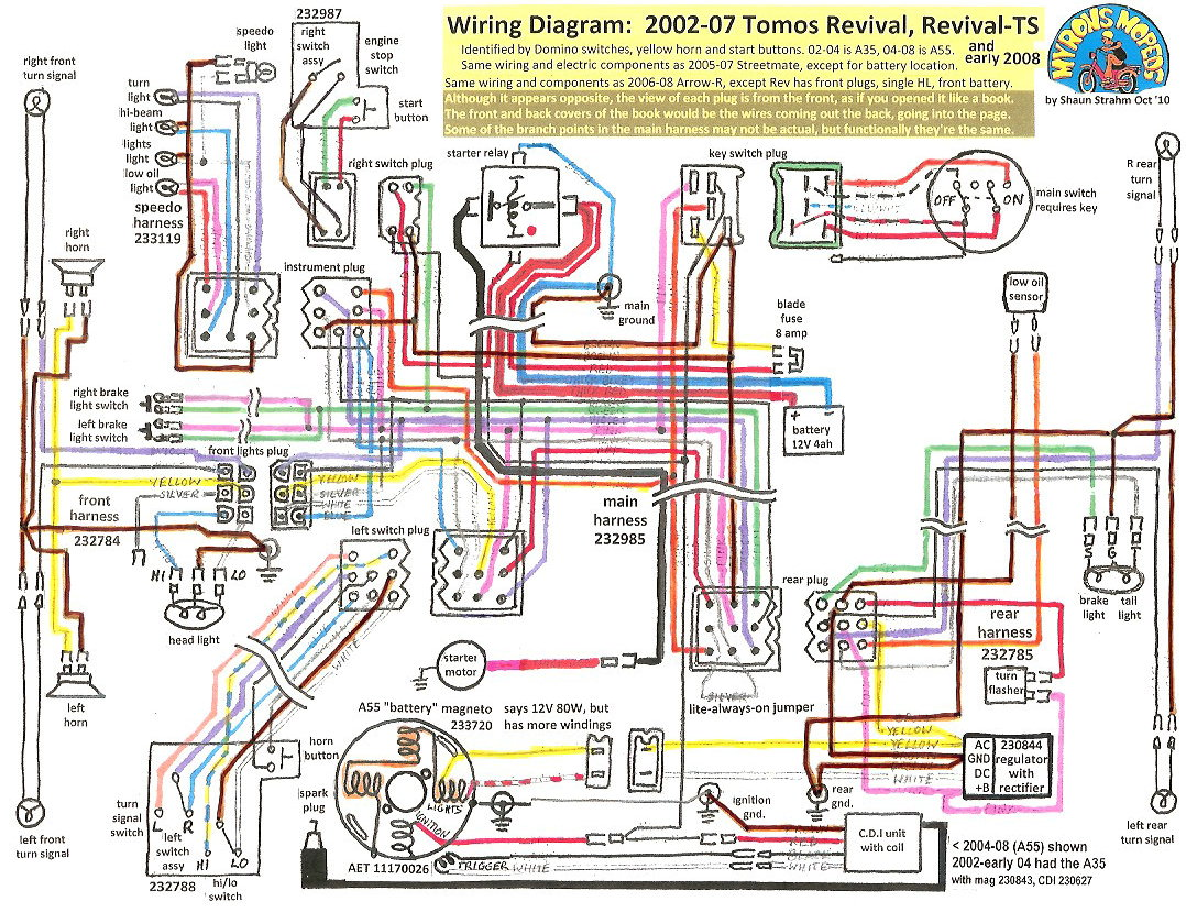 Wiring Diagram Schematic New Tomos Electrical 171 Myrons Mopeds