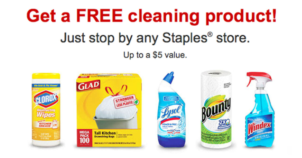Free Cleaning Product for Staples Rewards Members (Check Emails