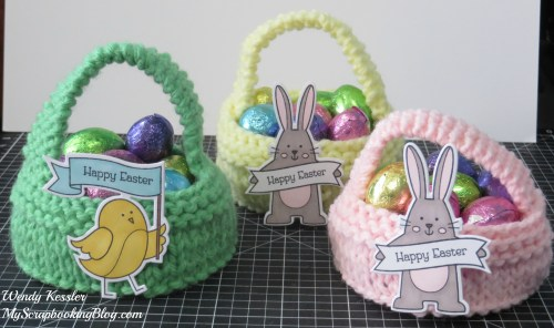 Knitted Easter Baskets by Wendy Kessler