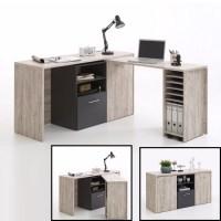 Weimar Corner Computer Desk And Sideboard In Sand Oak ...