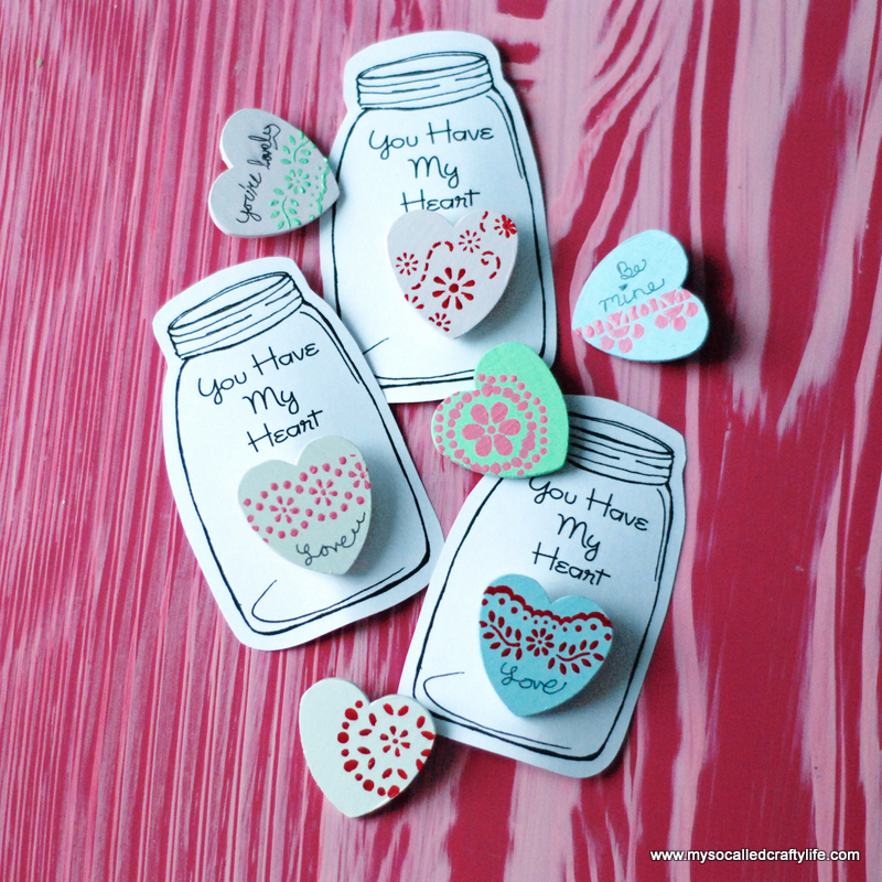 painted wooden heart pins
