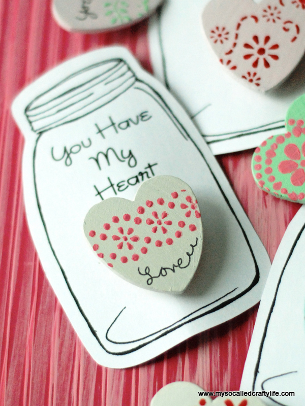 stenciled wooden heart pins