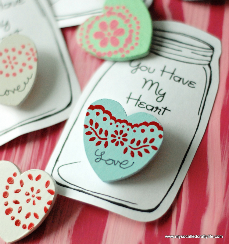 wooden heart pin valentines
