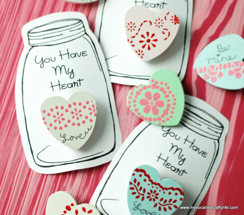 painted wooden hearts